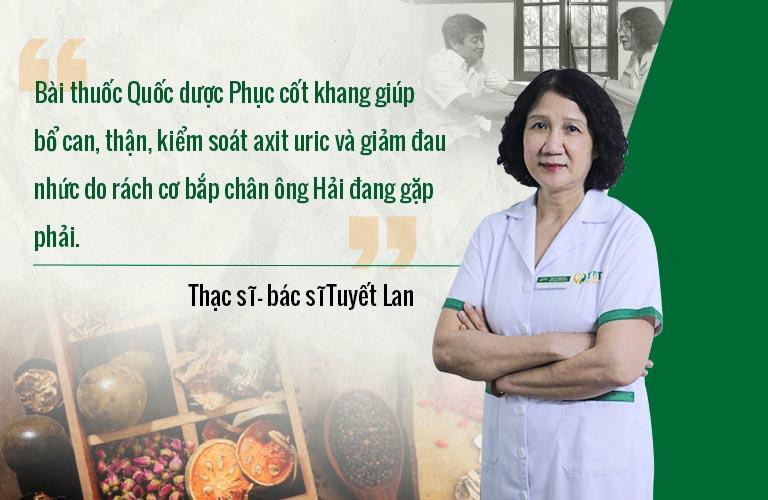 Bác sĩ Tuyết Lan kê đơn bài thuốc Quốc dược Phục cốt khang cho ông Hải