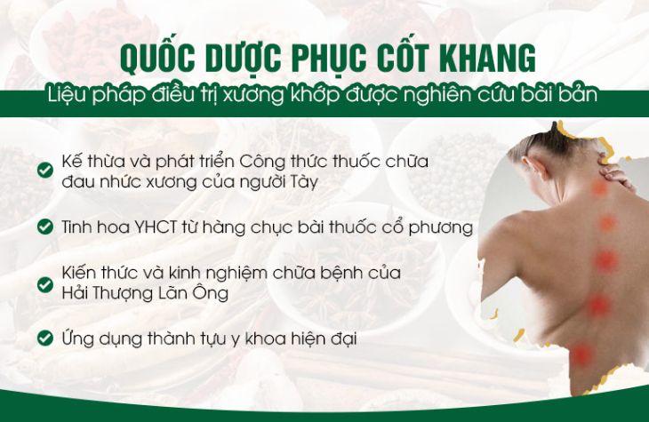 Bài thuốc Quốc dược Phục cốt khang tinh hoa Y học cổ truyền Việt Nam